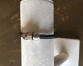 leather and steel man bracelet