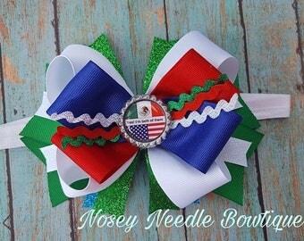 I am both Mexican and American, Soy de los Dos, Mexican hair bow, Chicana hair bow, Chicana hair, Mexican flag, Mexican/American flag