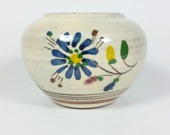 Vintage Hand Made Ceramic Rustic Container Hand Painted Jar Pot