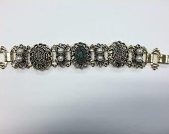 Vintage Mosaic and Pearl Bracelet