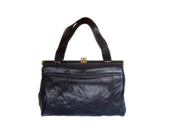 Vintage leather women bag black real leather
