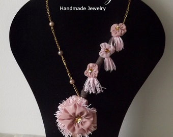 Romantic Pink Fabric Necklace