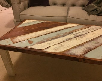 Distressed Rustic Wood Worn Painted Coffee Table
