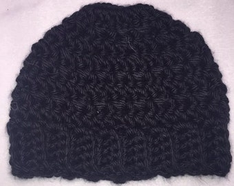 Messy Bun Hat - Black Hat - Crochet Hat - Winter Hat