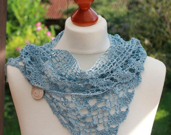 Linen scarf, crocheted from pure linen in Dove blue