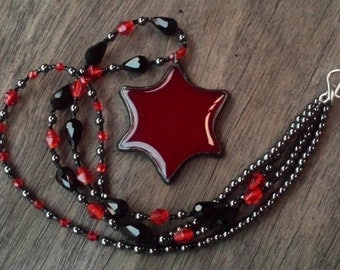 Deep Red Stained Glass Soldered Star Beaded Necklace by Indigo Mood