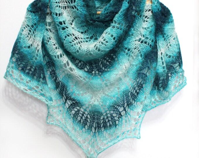 Knitted scarf shawl, knit shawl, knit scarf, turquoise shawl, knitted scarf, shawl of wool, knitted scarf, delicate shawl, crochet shawl