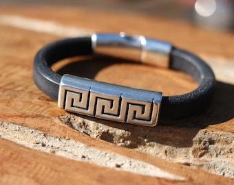 Handmade black leather bracelet