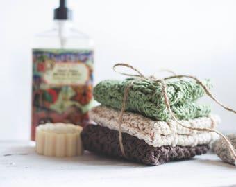 PDF Crochet Pattern for THREE Rustic Washcloths