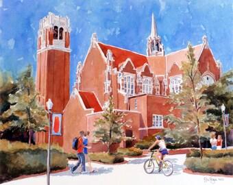 University of Florida Auditorium Print of Watercolor Painting, graduation gift, orange and blue, go gators, UF, Florida Gators, Edie Fagan