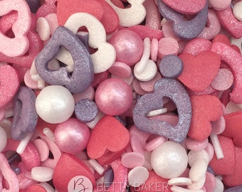 Romance Sprinkle Mix. Glimmer Edible Cake Sprinkles, Cupcake Decorations, Pink, Violet & Mother of Pearl. Ideal for Valentines bakes.