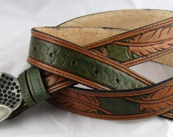 Hand Tooled Leather Belt, leather belt, leather hand-carved belt, sheridan belt, sheridan leather waistbelt, Hand Tooled Leather Belt