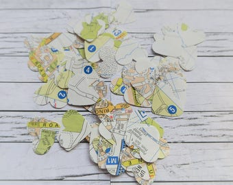 Vintage Map Heart Confetti (Stickers or Cut-Outs)