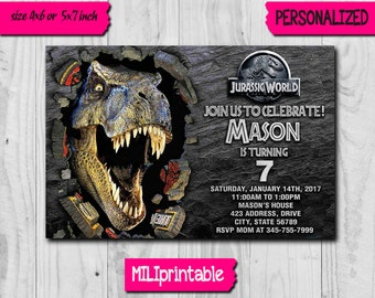Jurassic World Invitation / Jurassic World Birthday Invitation / Jurassic World Party / Jurassic Invitation / Jurassic World / Jurassic Park