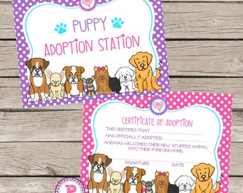 Puppy Adoption Certificate Birthday Party Ideas Polka Dot Puppy Adoption Station Adopt a Pet Puppies Dog Boxer French Bulldog Maltese Golden