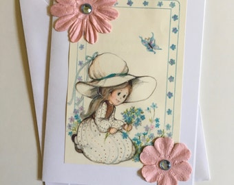 Upcycled Blank Greeting Card with Prairie Girl Picking Flowers From 1970s Book Art