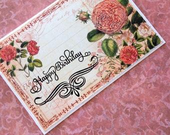 Happy Birthday cards, floral birthday card, vintage birthday cards, handmade birthday card, flower cards handmade, card for her, blank card