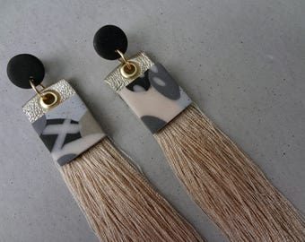 Urban Tribal Earrings - Charcoal Square  / Leather Earrings / Tassel Earrings / Polymer Clay Earrings / Stud Earrings