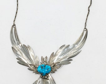 Sterling Sculptured Turqoise Necklace