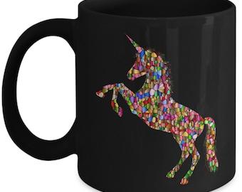 Unicorn Coffee Mug Colorful Pixel Ceramic Coffee Mug  Black