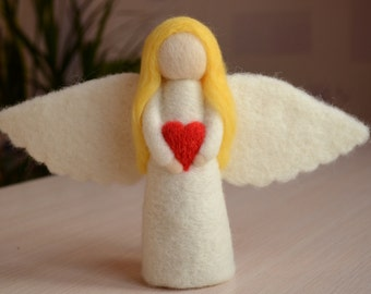 Angel of Love, angel with heart, white angel of tenderness, needle felted angel decoration, handmade souvenir gift wool toy present figurine