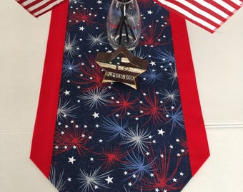 "4th of July Fireworks and Stars Table Runner 11"" x 31"", 12"" x 36"" or 12"" x 70"" sizes"