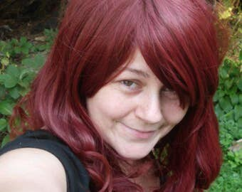 Dark Red Wig, Wine, Burgundy Long curly, Cosplay, Long Curly Wig, side swept Bangs, side swept bang, heat safe, curly wig