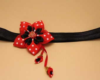 Handmade, kanzashi, Hairband, red, black, Mickey Mouse