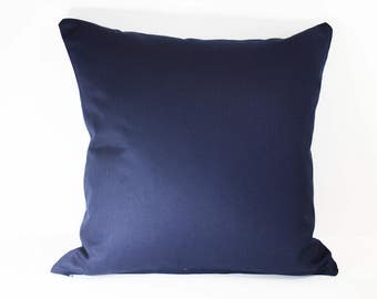 Handmade plain cotton cushion in navy (cushion pad included)
