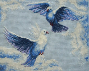 embroidery- Love and pigeons.