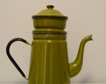 Vintage Green Enamel Biggin Coffee Pot