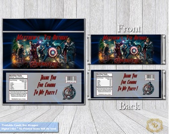 Avengers Candy Bar Wrappers.Chocolate Bar Wrapper.Candy Wrapper.Avengers Party Theme.DIY.Wrappers.Avengers.Bar Wrappers.Avengers Birthday.