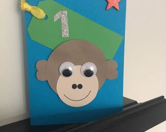 Handcrafted boys first birthday card with Monkey, star and labelled detailing