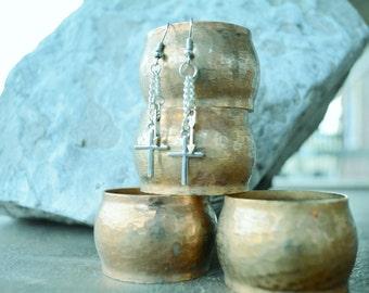 cross and arrow dangle earrings