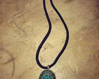 blue stone on Thai cord necklace