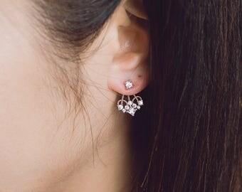 925 sterling silver, earjacket,CZ Ear jacket, ear jacket, Silver ear jacket, Chandelier ear jacket, wedding gift,  bridal maid