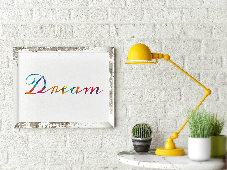 Dream Wall Art dream - cursive word art -dream wall art, dream artwork, dream art