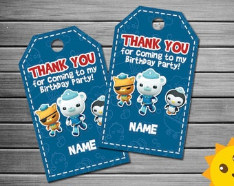 Octonauts Thank You Tags, Octonauts Birthday Favor Tags, Octonauts Party Tags, Octonauts Favor Tag, Octonauts Thank You Printables
