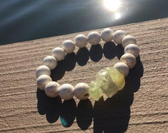 Magnesite Beach Prehnite Resort Bracelet, Resort jewelry, white bracelet, beach jewelry, magnesite bracelet, prehnite bracel, earthy jewelry