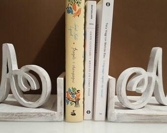 pair of wooden Bookends with initials
