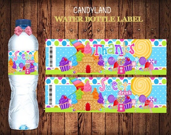 INSTANT DOWNLOAD Candyland Water Bottle Labels, Candyland Birthday Labels,   Party Labels, Printable Supplies,  Party Supplies