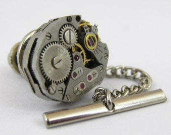 Vintage Steampunk Watch Movement TIE TACK Tie Clip Mixed Media Assemblage Jewelry L8