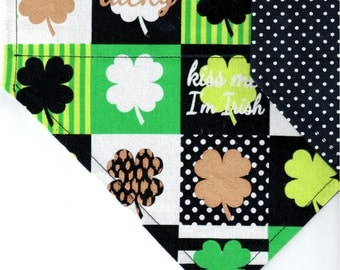 Shamrocks in Squares | St Patrick's Day Dog Bandana | Puppy Bandana | Pet Bandana | Over the Collar Bandana
