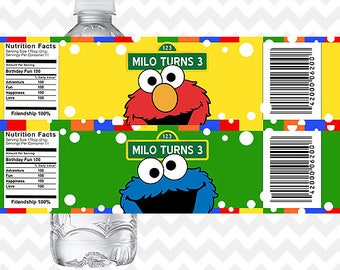 Elmo Water Bottle Labels, Cookie Monster Bottle Labels, Sesame Street Bottle Labels, Sesame Street Party, Elmo Birthday Party, Printables