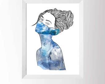 Blue Watercolour Woman Art Print