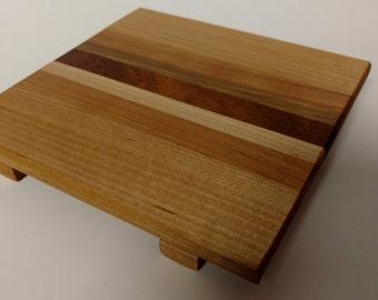 Striped Wooden Trivet - Maple, Mahogany, Cherry