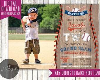 Baseball Birthday Invitation, Rustic Baseball Birthday Invite, Photo - Printable DIY