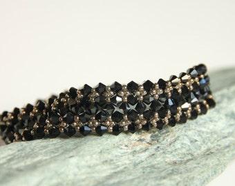 Black Swarovski crystals Bracelet, Bronze beads Bracelet, Elegant Black bracelet, Boho Bracelet, one of a kind, Gift for her, Gift under 50