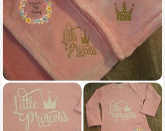 Little Princess, Baby Girl, Pink, Fluffy Soft, 30x40, Baby Blanket and Matching Gown... Perfect Coming Home Set or Baby Shower Gift