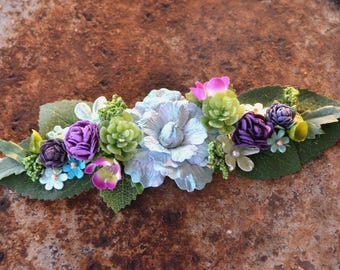 Baby halo/crown;succulents;floral;artificial;faux;silk;photography;infant;purple;lavender;green;teal;turquoise;adjustable;headband;prop